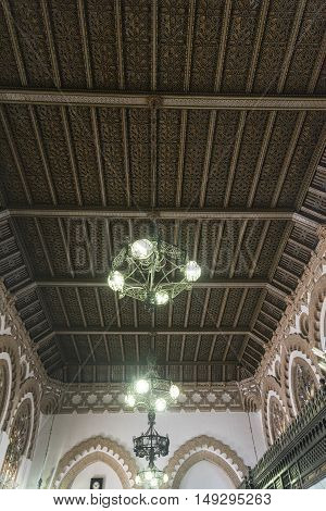 TOLEDO, SPAIN - JULY 17, 2016: Toledo (Castilla-La Mancha Spain): interior of the historic railway station. The wooden ceiling