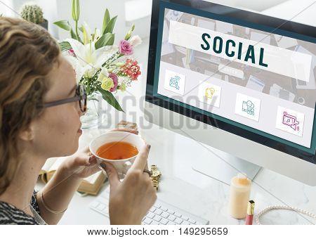 Social Network Online Communication Concept