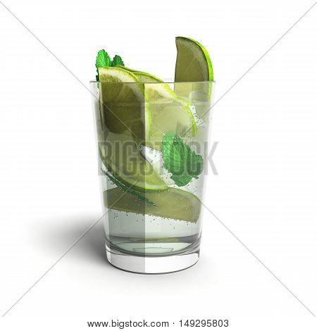 Mojito Cocktail 3D Render Isolated On A White Background.