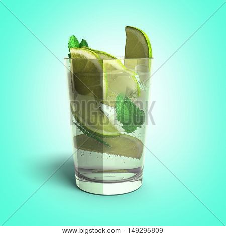 Mojito cocktail 3d render on gradient background