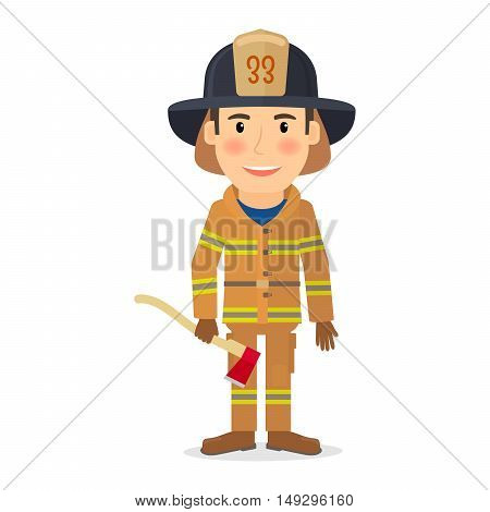 People profession character. Firefighter man vector illustration