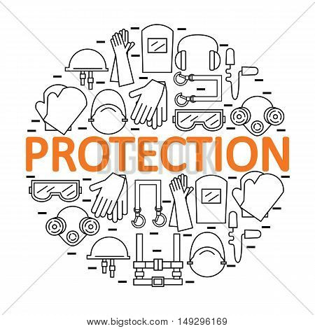 Round banner with personal protective equipment. Protection the health and the body. Vector illustration.