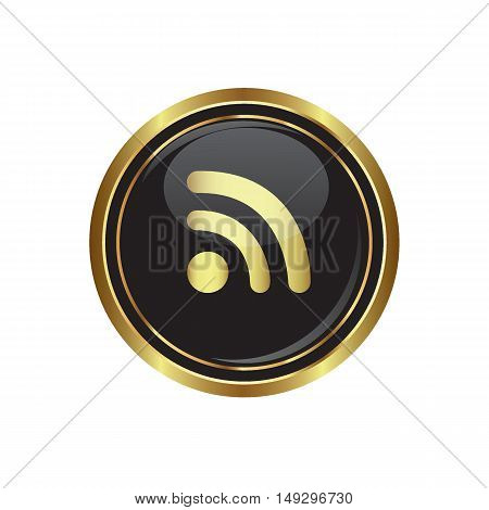 Rss icon on the button. Vector illustration