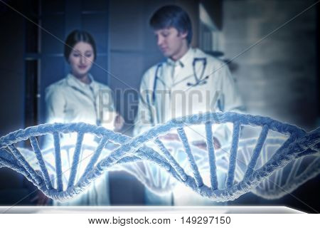 Chemistry specialists working in laboratory . Mixed media