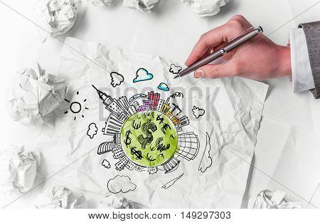 In search of income idea . Mixed media
