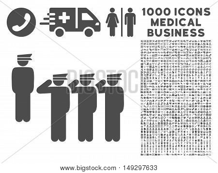 Gray Army icon with 1000 medical business glyph pictograms. Set style is flat symbols, gray color, white background.