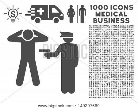 Gray Arrest icon with 1000 medical business glyph pictograms. Collection style is flat symbols, gray color, white background.
