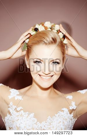 Smiling Pretty Sexy Blonde Bride Girl