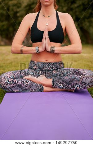Healthy Young Woman Practicing Yoga In Park