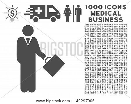 Gray Businessman icon with 1000 medical business glyph design elements. Collection style is flat symbols, gray color, white background.