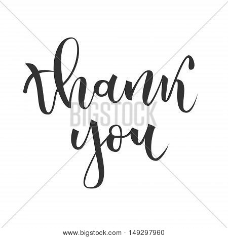 Thank you hand lettering greeting isolated on white background