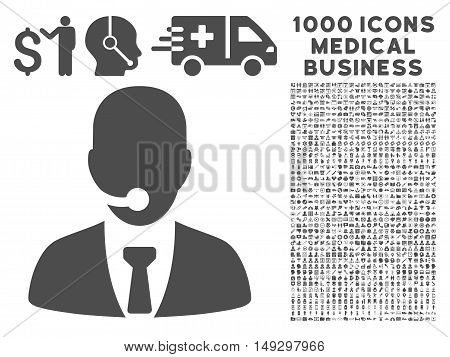 Gray Call Center Manager icon with 1000 medical business glyph pictograms. Collection style is flat symbols, gray color, white background.