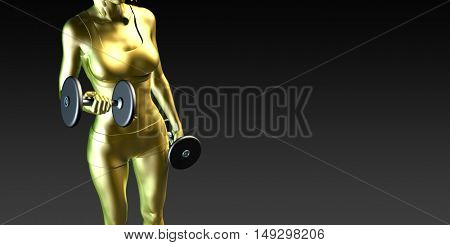 Metal Steel Woman Lifting Weights as a Fitness Concept 3D Render