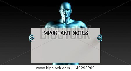 Important Notes with a Man Carrying Reminder Sign 3D Render