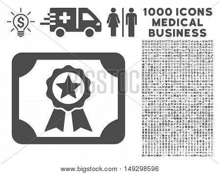 Gray Certificate icon with 1000 medical business glyph pictographs. Design style is flat symbols, gray color, white background.