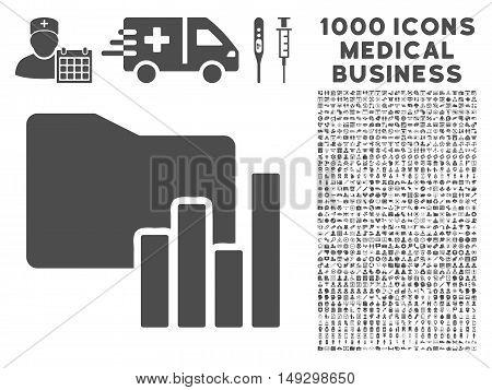 Gray Charts Folder icon with 1000 medical business glyph design elements. Collection style is flat symbols, gray color, white background.