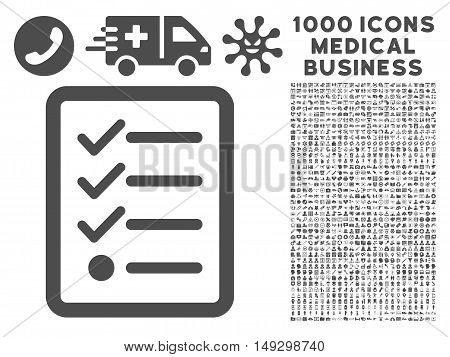 Gray Checklist icon with 1000 medical business glyph pictograms. Collection style is flat symbols, gray color, white background.