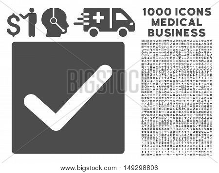 Gray Check icon with 1000 medical business glyph pictographs. Collection style is flat symbols, gray color, white background.