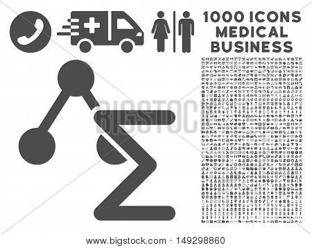 Gray Chemical Formula icon with 1000 medical business glyph pictographs. Collection style is flat symbols, gray color, white background.