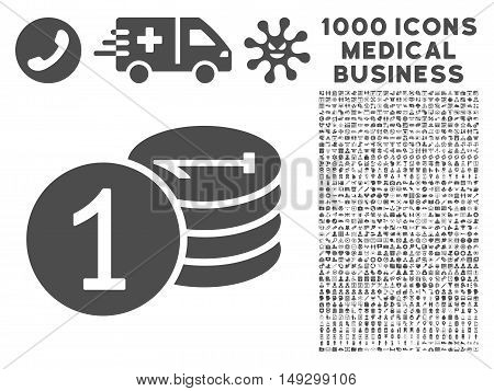 Gray Coins icon with 1000 medical business glyph pictographs. Collection style is flat symbols, gray color, white background.