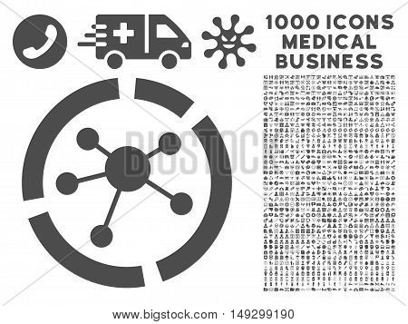 Gray Connections Diagram icon with 1000 medical business glyph pictographs. Set style is flat symbols, gray color, white background.