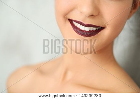 Lovely woman with wide smile