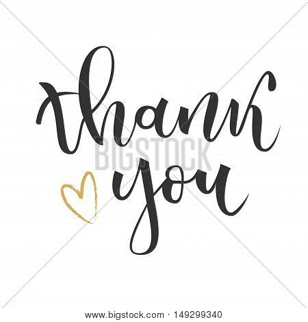Thank you hand lettering greeting with gold heart on white background