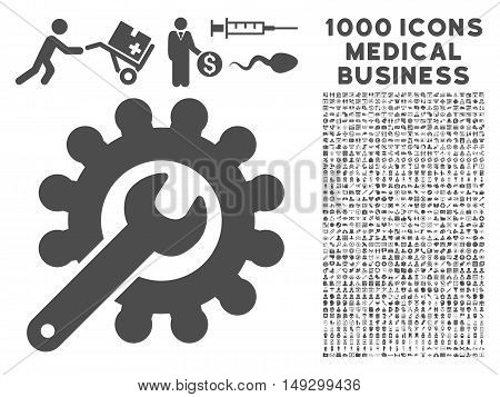 Gray Customization icon with 1000 medical business glyph pictograms. Design style is flat symbols, gray color, white background.