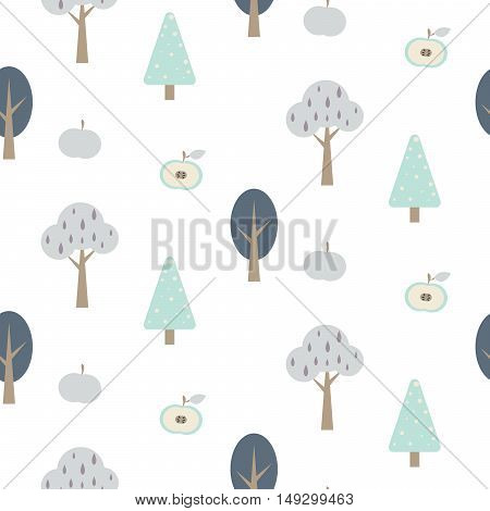 Blue forest seamless pattern with apples. Woodland childish white background.
