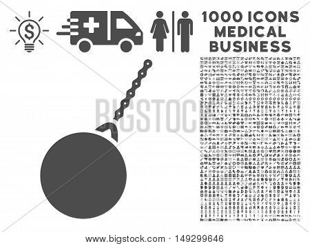 Gray Destruction Hammer icon with 1000 medical business glyph pictograms. Set style is flat symbols, gray color, white background.