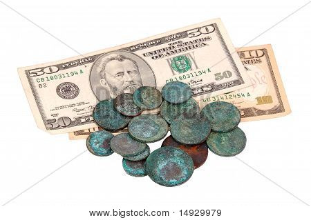 Antique russian coin and dollar