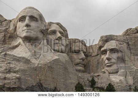 The faces of four United States presidents on Mount Rushmore.