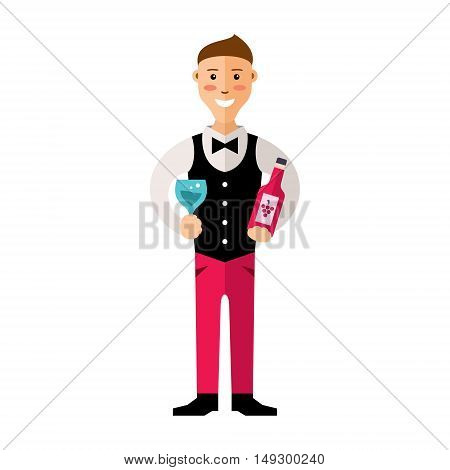 Man examining wine. The boy is holding bottle of red wine and glass. He is smiling. Isolated on a white background