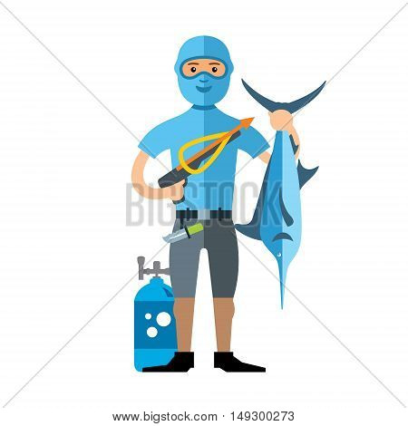 Underwater hunter with trophies. Isolated on a white background