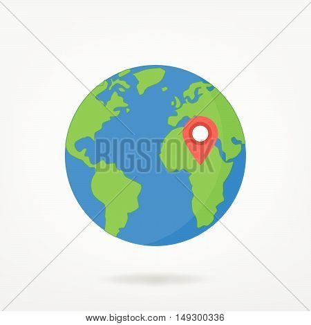 Location Pin Point On Africa On World Map Illustration