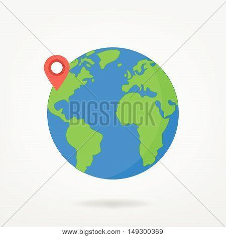 Pin Point On World Map Illustration