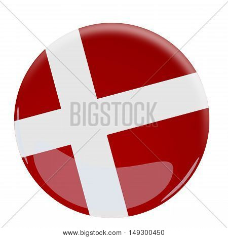Illustration of a glossy button with the flag of Denmark