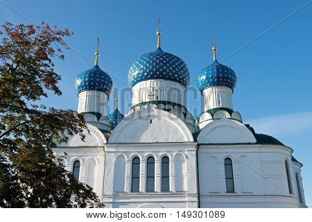 Blue domes of the Epiphany Cathedral in the town of Uglich, Russia