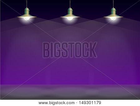 Ancient three bronze lamp hanging on the wire. Big and empty space illuminated on the purple wall. Vector illustration of lighting.