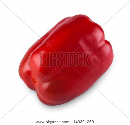 One ripe red sweet pepper isolated on white background. Closeup image of ideal pepper vegetable, healthy natural organic food