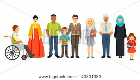 The concept of a multicultural society. Group of different people. Social Groups. Community people