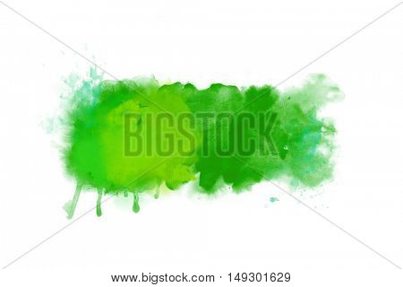 Green abstract watercolor artwork background banner isolated on white - big size