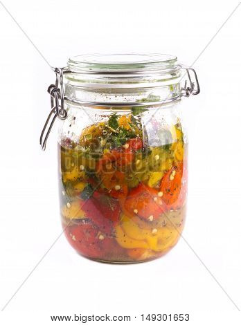 Pickled Peppers In A Jar. Red, Yellow And Green Peppers In A Jar.