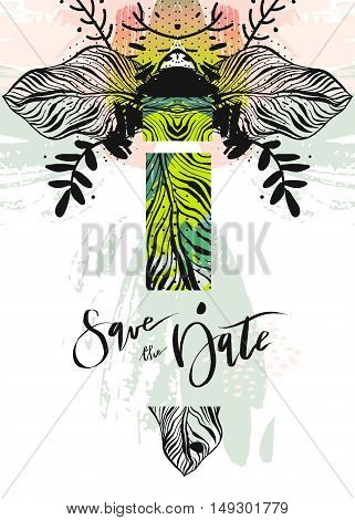 Hand drawn vector abstract modern boho tropical minimalistic save the date card template with exotic palm leaf composition in pastel and green colors.