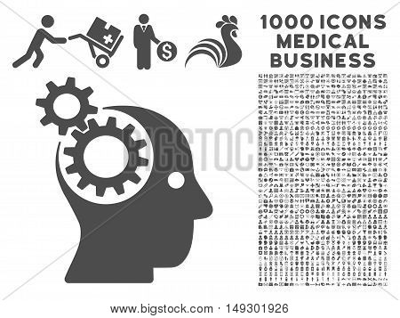 Gray Intellect Gears icon with 1000 medical business glyph design elements. Design style is flat symbols, gray color, white background.