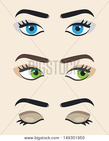 Eye vector at different positions. Beautiful female eye. Eyes looking straight right eyes closed.