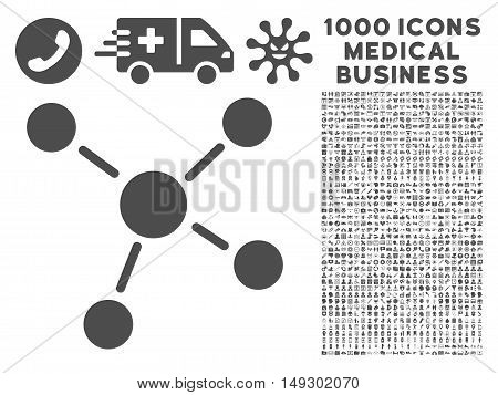 Gray Links icon with 1000 medical business glyph pictograms. Collection style is flat symbols, gray color, white background.