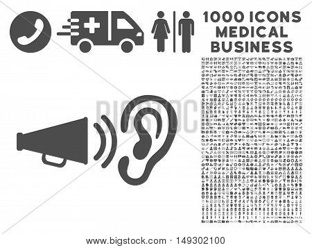 Gray Listen Sound icon with 1000 medical business glyph pictographs. Set style is flat symbols, gray color, white background.