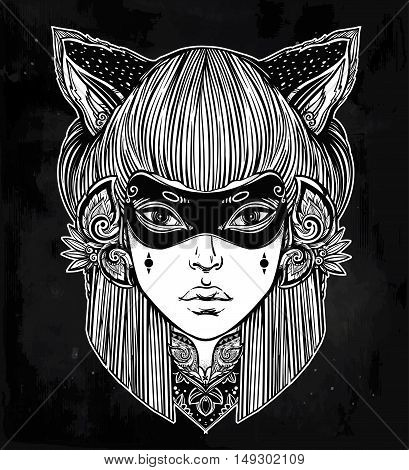Hand drawn beautiful artwork of woman in a mask with cat ears portriat. Magic, spirituality, occultism, tattoo art, coloring books. Isolated vector illustration. Japanese demon kitsune.