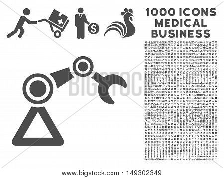 Gray Manipulator icon with 1000 medical business glyph pictograms. Collection style is flat symbols, gray color, white background.